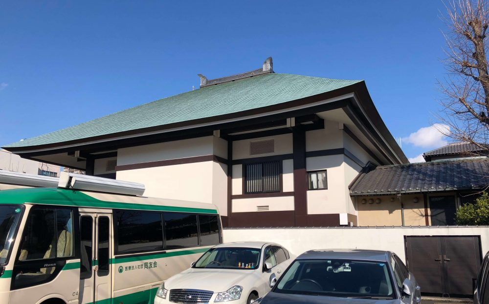 緑の屋根のお寺さん